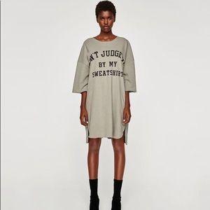 Zara Screen Print Sweatshirt Dress